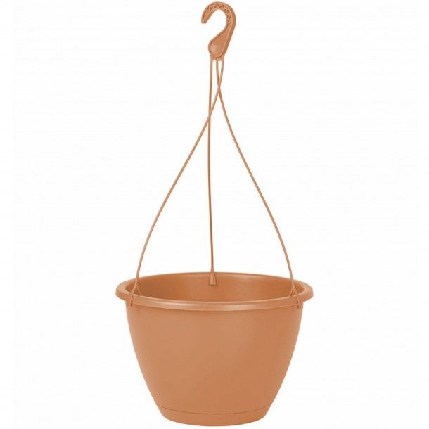 Vaso Plástico Suspenso com Prato Terracota - 18 cm