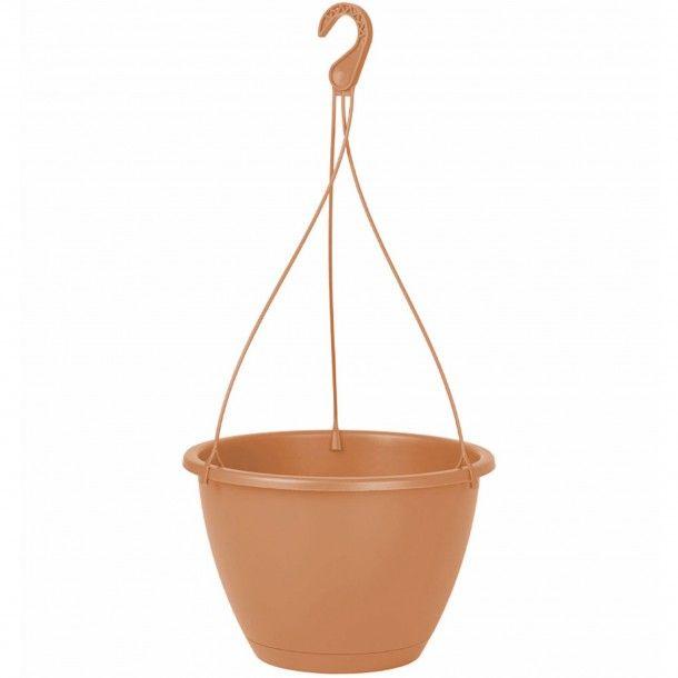 Vaso Plástico Suspenso com Prato Terracota - 24 cm