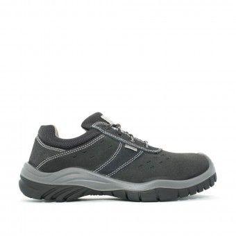 Sapato Biqueira e Palmilha Aço Camurça Cinzento
