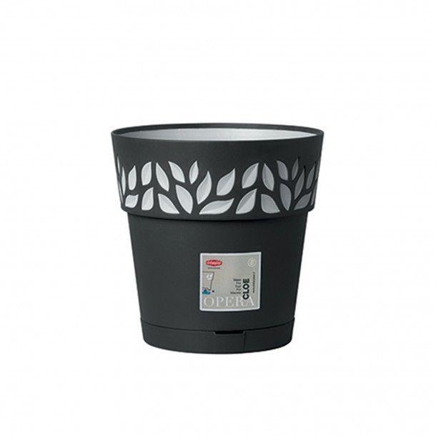 Vaso Plástico com Depósito de Água Grafite Ø 20 cm