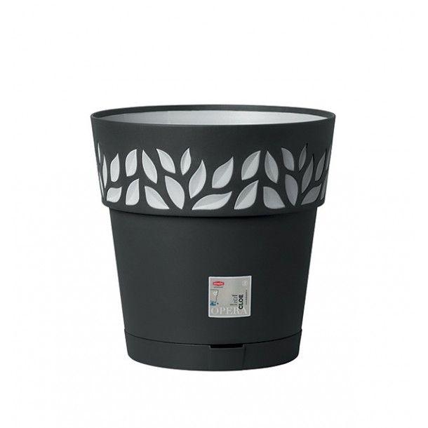Vaso Plástico com Depósito de Água Grafite Ø 30 cm