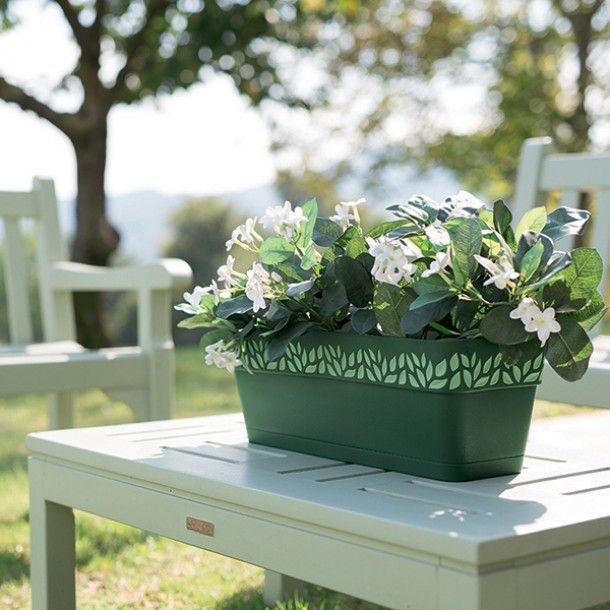 Floreira Plástico com Depósito de Água Verde 30 cm