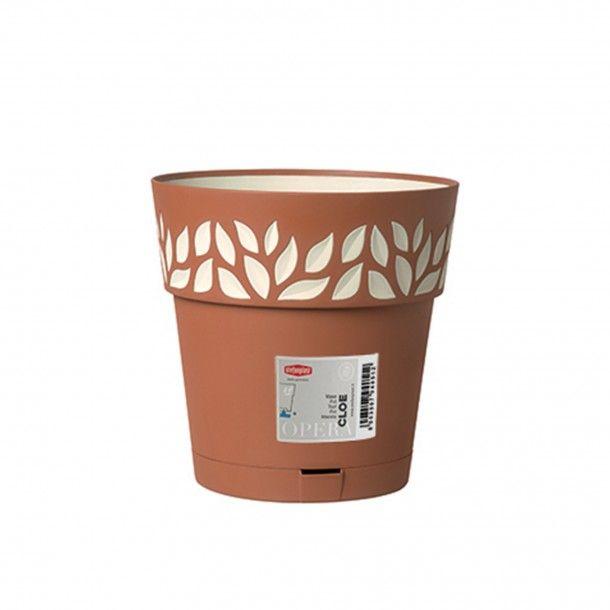Vaso Plástico com Depósito de Água Terracota Ø 20 cm