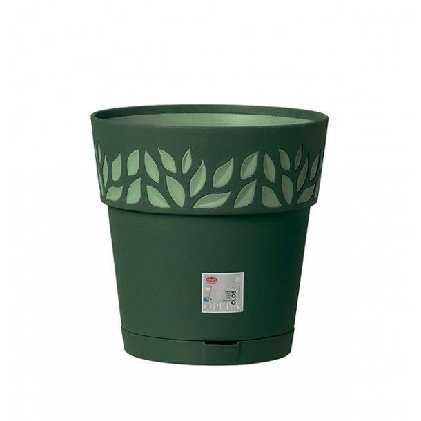 Vaso Plástico com Depósito de Água Verde Oliva Ø 30 cm