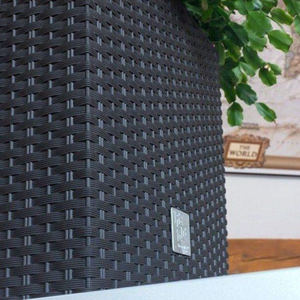 Vaso Quadrado Baixo Estilo Ratan Antracite - 17 cm