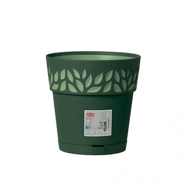 Vaso Plástico com Depósito de Água Verde Oliva Ø 20 cm