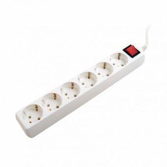 Extensão 6 Tomadas com Interruptor Branca